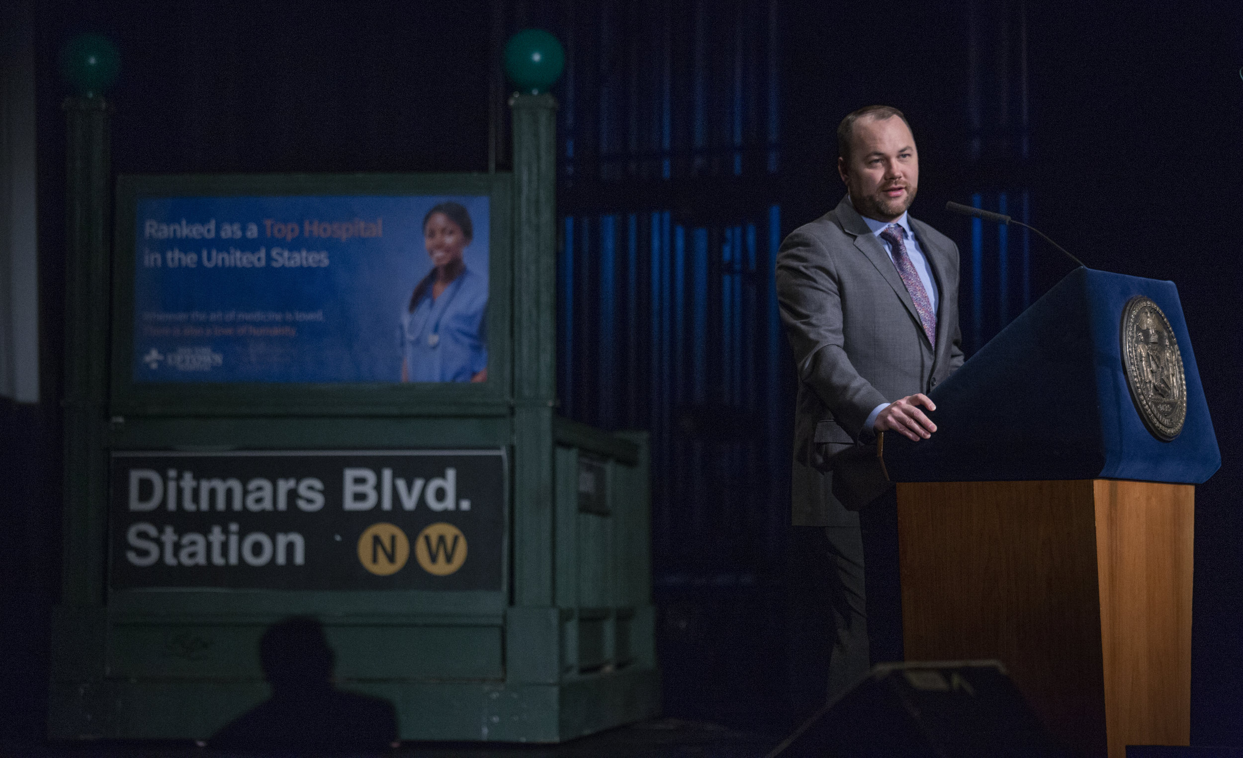 City Council Speaker Corey Johnson delivers his first State of the City Address in front of an Astoria subway station prop at LaGuardia Community College. Photo via the City Council/Flickr.