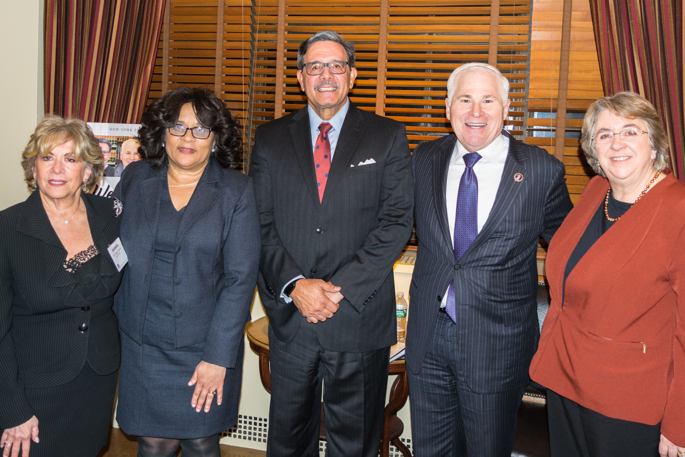 "Three of the presiding justices of the Appellate Division met with bar association leaders from around the state during a ""Meet the Presiding Justices"" meeting hosted by the NYS Bar Association and the Brooklyn Bar Association. Pictured from left: Hon. Barbara R. Kapnick, Hon. Cheryl Chambers, Hon. Rolando T. Acosta, Presiding Justice, First Department, Hon. Alan D. Scheinkman, Presiding Justice, Second Department, and Hon. Elizabeth A. Garry, Presiding Justice, Third Department."