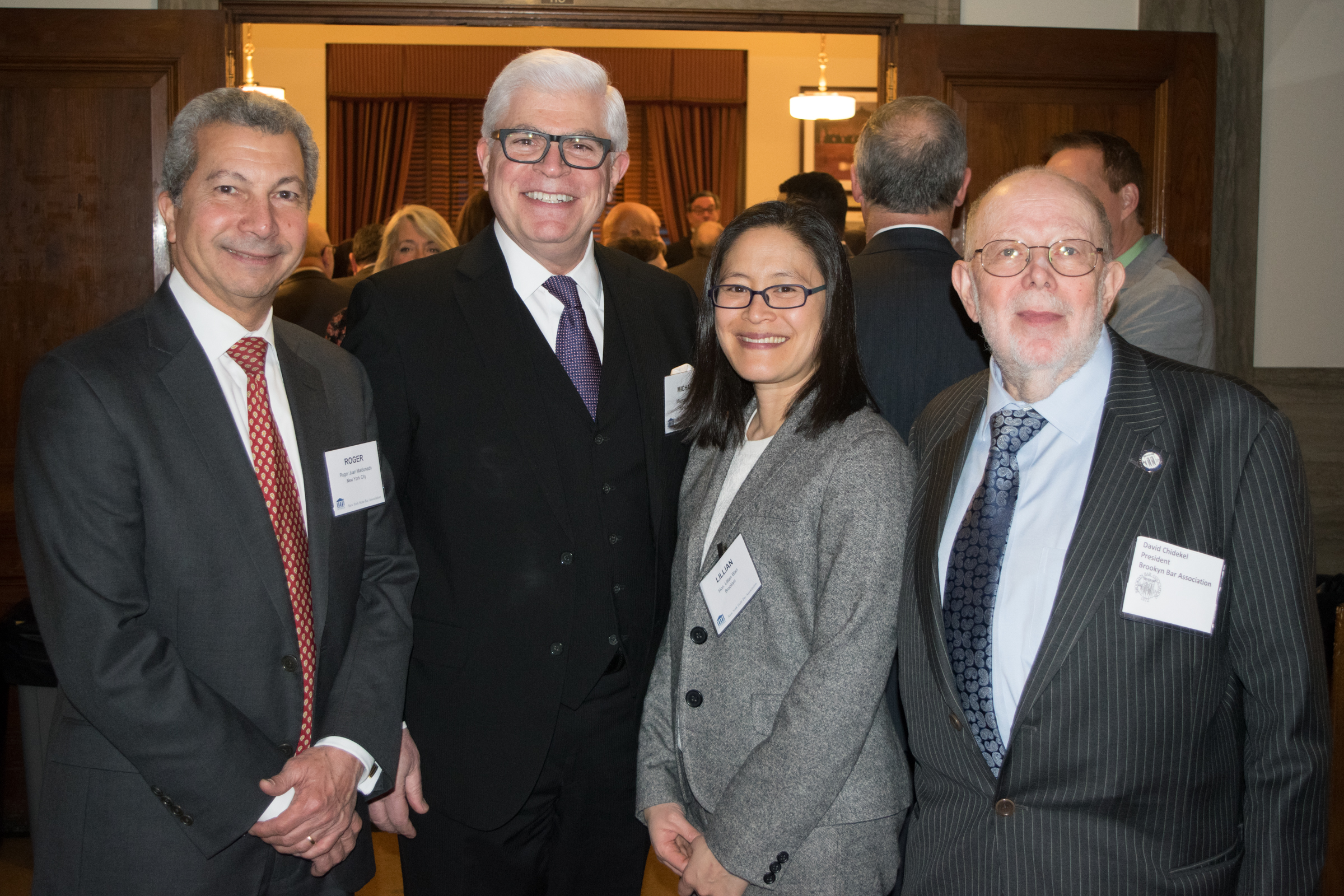 From left: Roger J. Maldonado, president of the NYC Bar Association, Michael Miller, president of the NYS Bar Association, Hon. Lillian Wan and David Chidekel, president of the Brooklyn Bar Association.