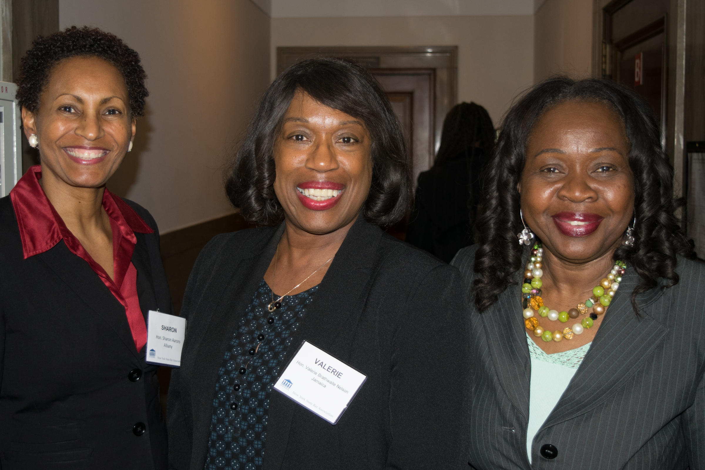 From left: Hon. Sharon Aarons, Hon. Valerie Brathwaite Nelson, and Hon. Sylvia Hinds-Radix.