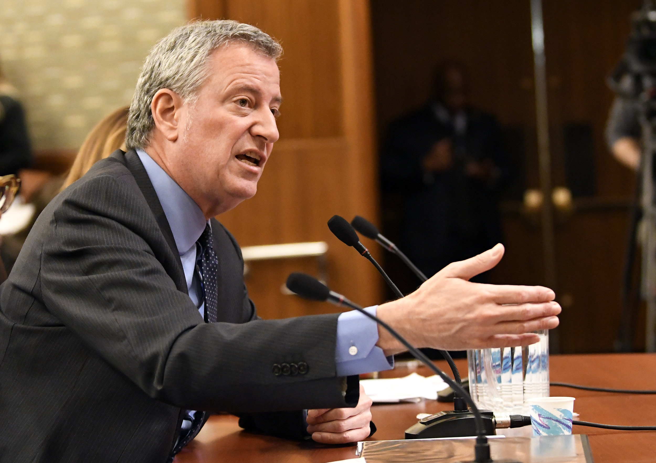 Mayor Bill de Blasio testifies during a joint legislative budget hearing on local government. (AP Photo/Hans Pennink).
