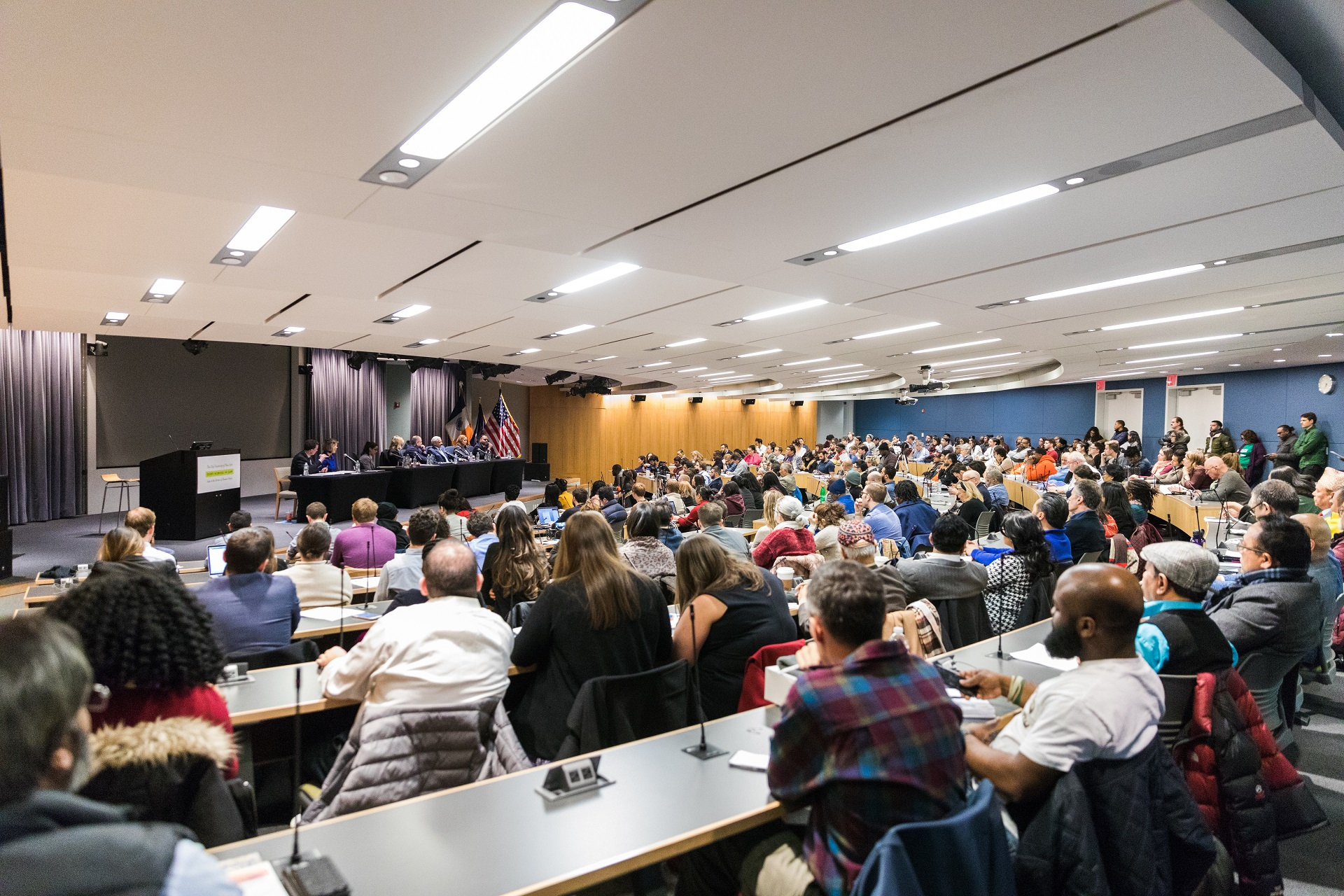 The Queens For DA Accountability coalition hosted a forum at CUNY Law on Tuesday.  Eagle  photo by Paul Frangipane.