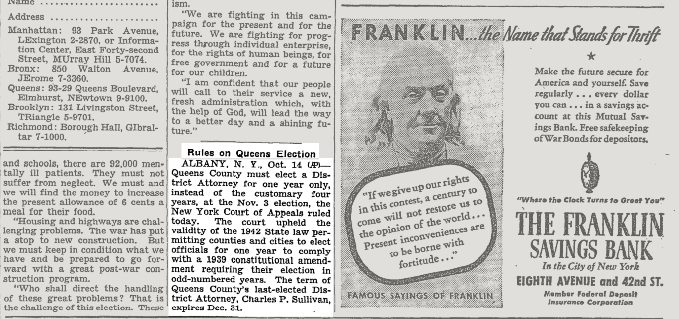 The October 15, 1942 edition of  The New York Times  explains that year's DA election change. Image via the  The New York Times  archives