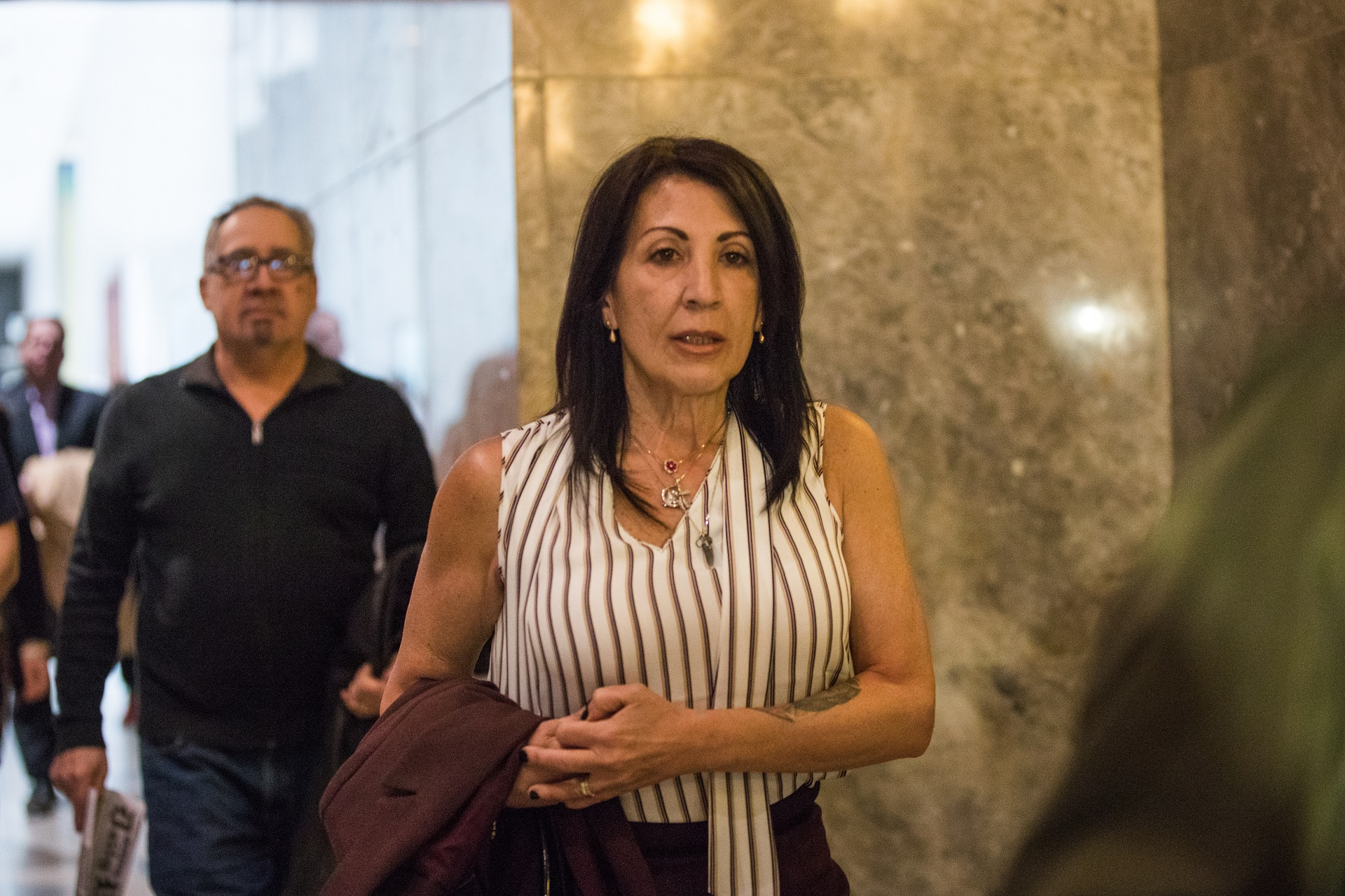 Karina Vetrano's mother Cathie Vetrano testified for the first time at the retrial of Chanel Lewis, the man accused of killing Karina. She did not testify during the first trial, which ended in a split jury in November.  Eagle  photo by Paul Frangipane