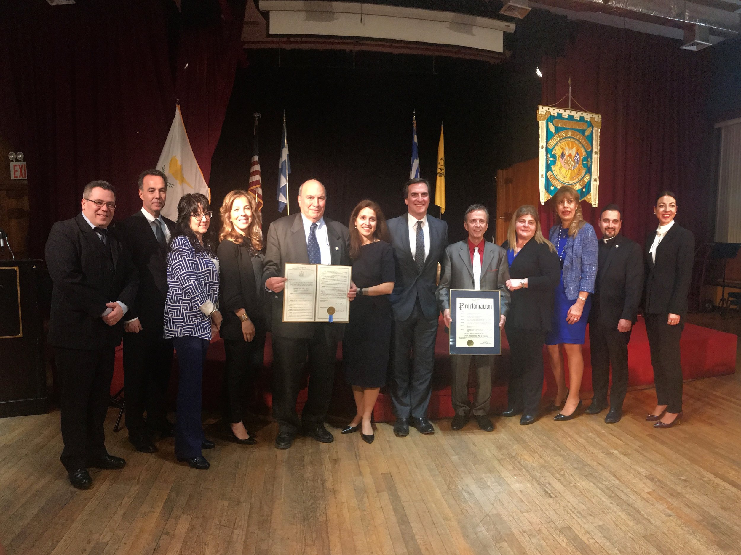 State Sen. Michael Gianaris, Assemblymember Aravella Simotas and Councilmember Costa Constantinides celebrated Greek Independence Day by honoring Astoria community leaders Maria Haralampopoulos, an educator at the Academy of American Studies; Father George Anastasiou, NYPD chaplin; Betsy Sideris, principal of St. Catherine's School; Effie Lekas, Queens College professor; and Florence Koulouris, district manager of Community Board 1. Photos courtesy of Gianaris' Office.