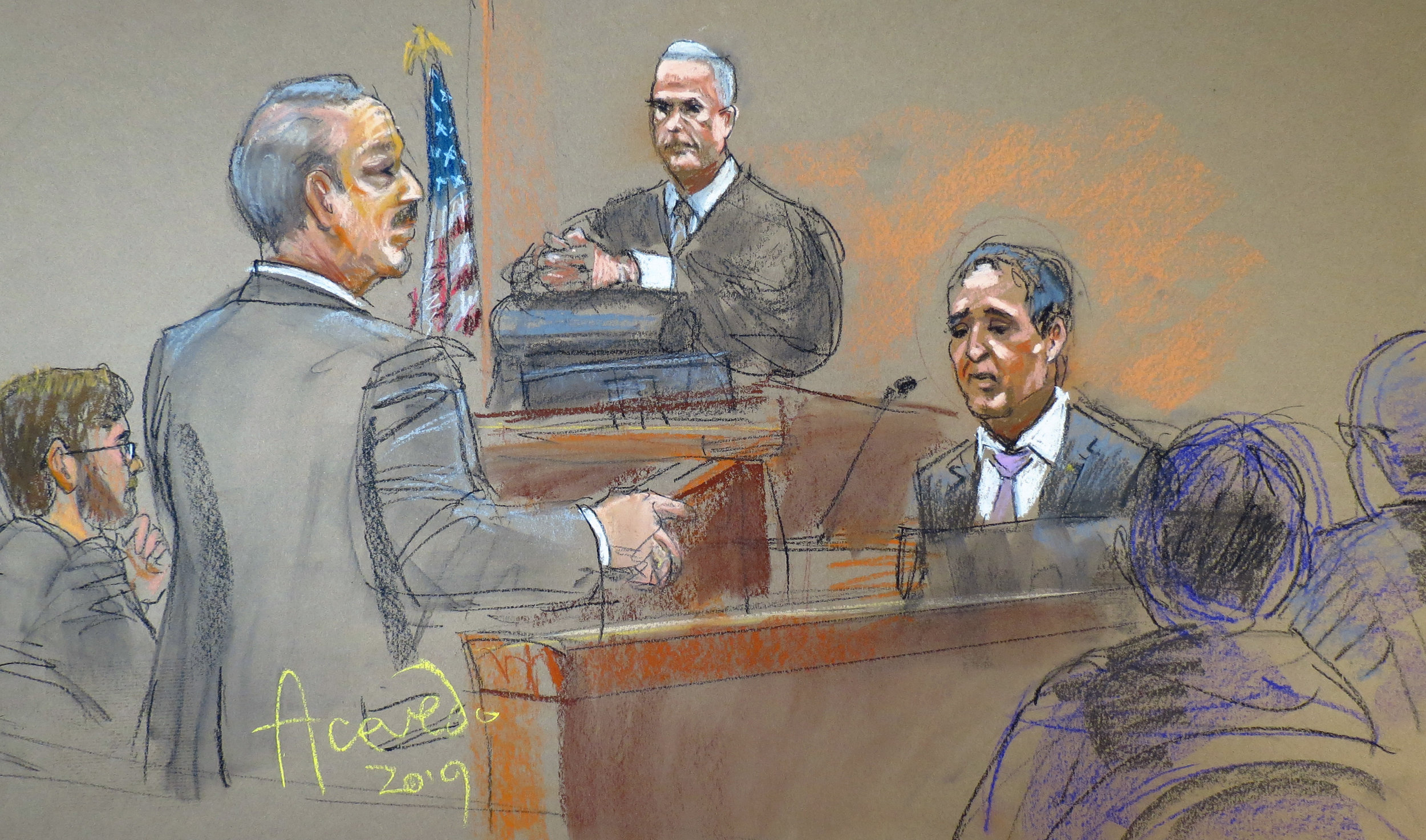 Phil Vetrano testifies Tuesday in the retrial of Chanel Lewis, the man accused of killing Vetrano's daughter Karina. He took the stand again on Wednesday as Assistant District Attorney Brad Leventhal continued direct examination. Justice Michael Aloise presides.  Eagle  court sketch by Alba Acevedo.