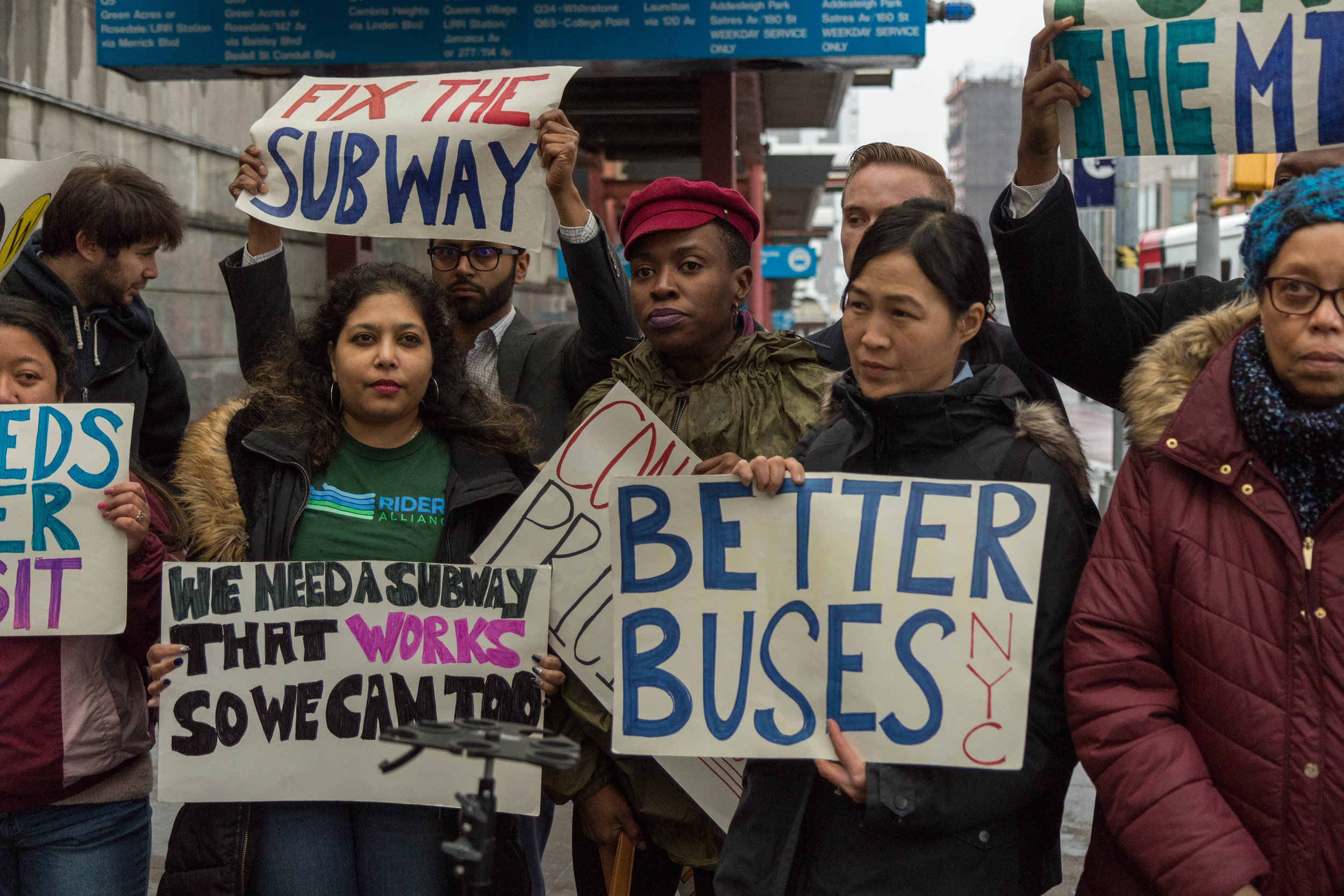 Transit advocates urged state legislators to pass congestion pricing at a rally outside of the Jamaica Center subway station.