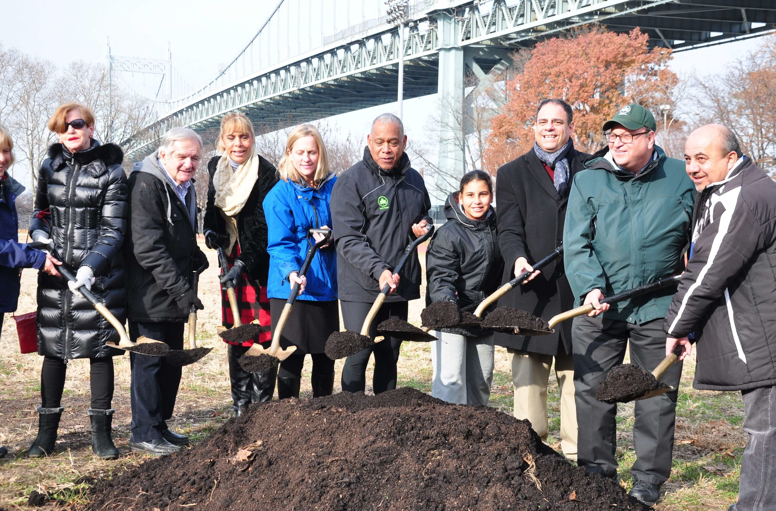 Local leaders break ground at Astoria Park in December 2018. The park will feature a sustainable rain garden to manage runoff thanks to the advocacy of 12-year-old Angela Garvin. Photo courtesy of Costa Constantinides' office.