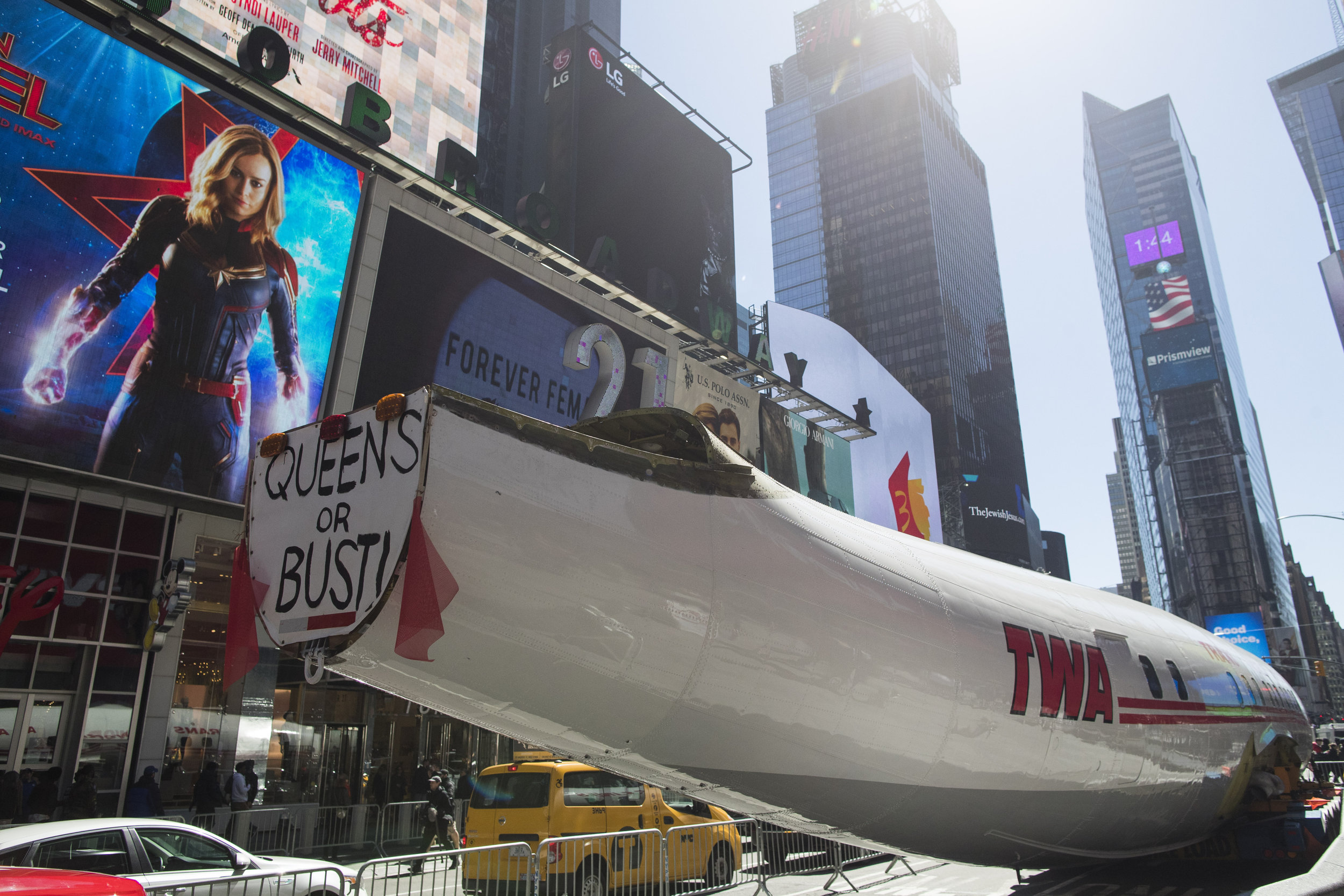 """A Lockheed Constellation L-1649A Starliner, known as the """"Connie,"""" was parked in Times Square on Saturday. The vintage commercial airplane will serve as the cocktail lounge outside the new TWA Hotel at JFK airport. AP Photos/Mary Altaffer."""