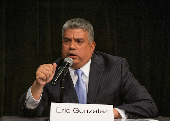 Brooklyn District Attorney Eric Gonzalez announced the indictment against former Flushing NYPD sergeant on March 22.  Eagle  file photo by Rob Abruzzese.