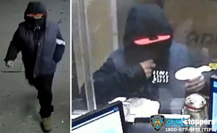 Surveillance images of a suspected robber who pilfered businesses in Elmhurst, Jackson Heights and Woodside. Photo courtesy of the NYPD.