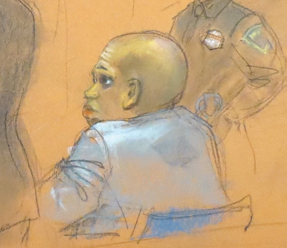 Chanel Lewis sits in the courtroom during his November trial, which ended in a split jury. Eagle court sketch by Alba Acevedo
