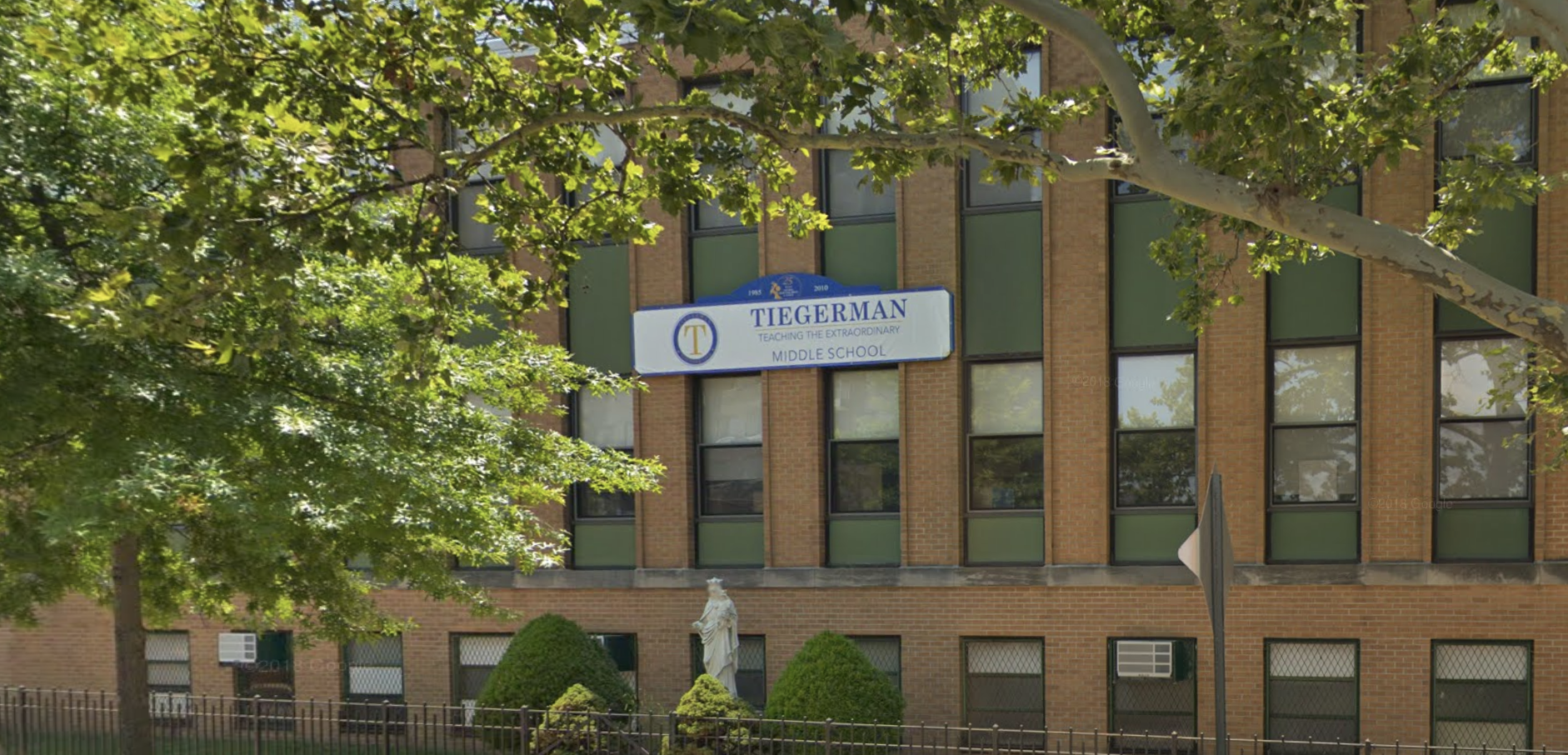 Tiegerman Middle School in Woodside will relocate to Glen Cove. Photo via Google Maps.