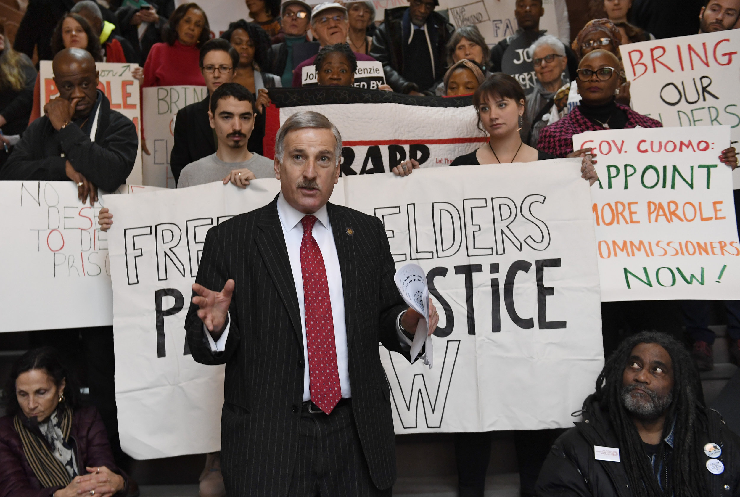 Assemblymember David Weprin stands at the state Capitol. AP Photo/Hans Pennink.