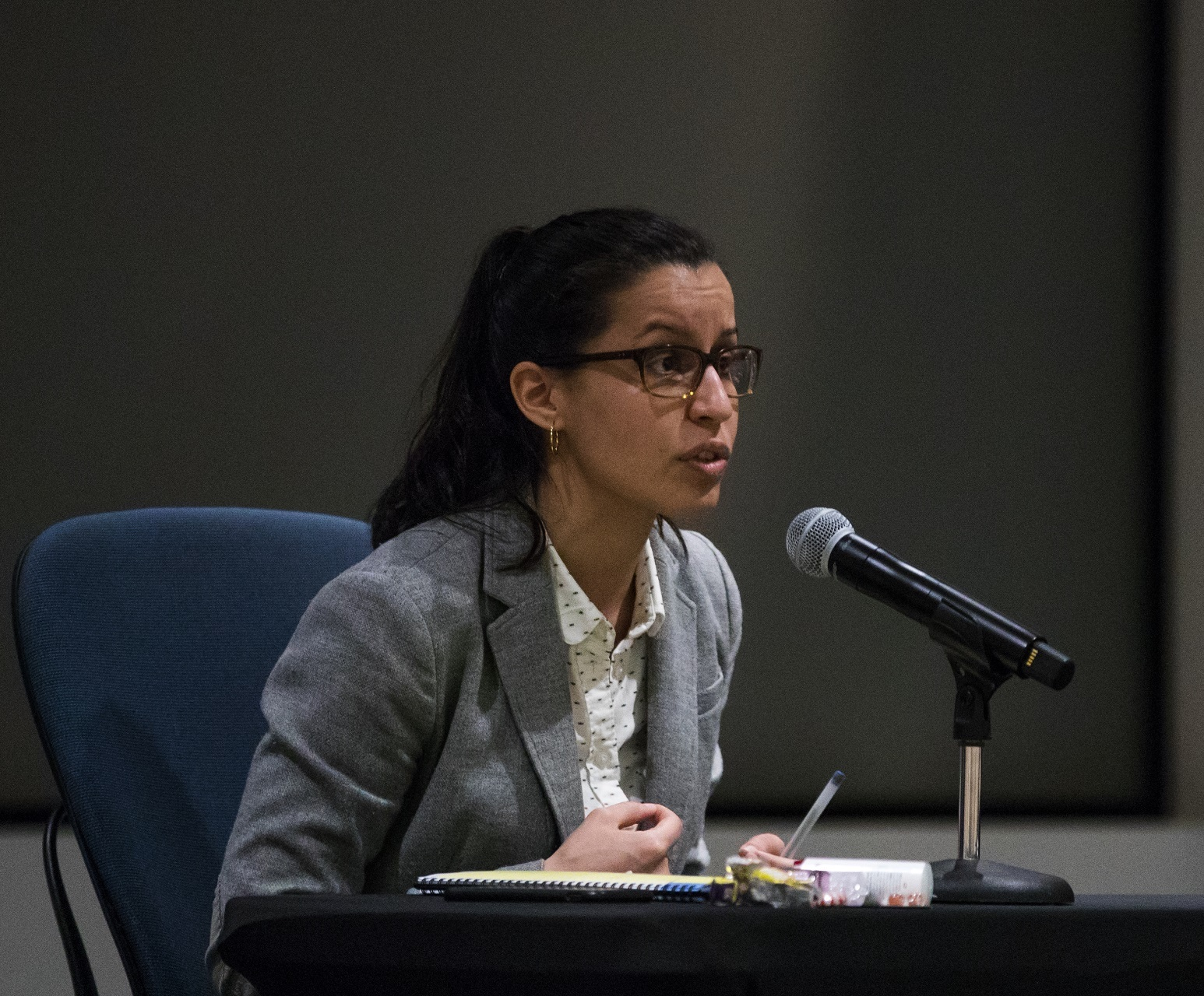 Public defender Tiffany Cabán at a Queens DA forum at CUNY Law. Eagle photo by Paul Frangipane.