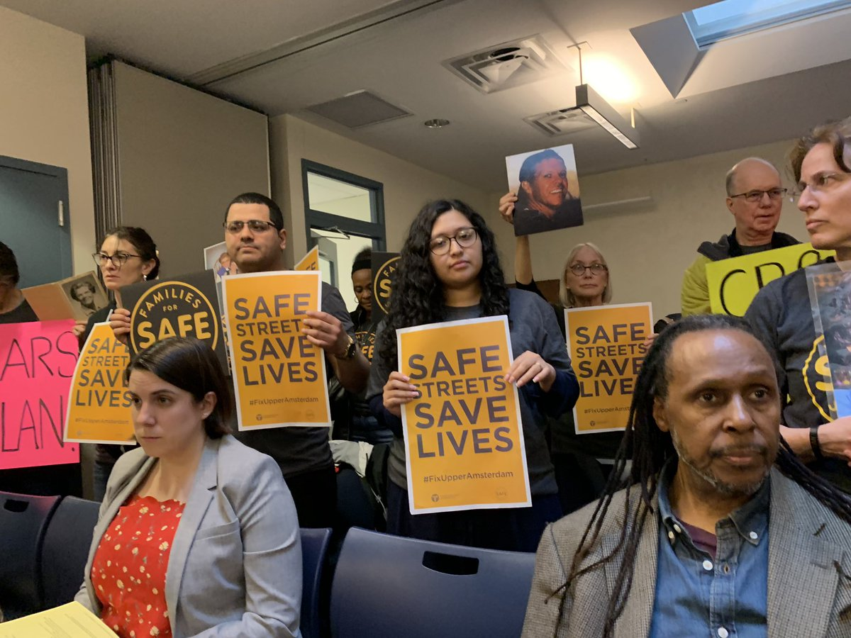 Demonstrators advocate for safer streets to reduce the rising number of New Yorkers killed by automobiles. Photo via Families for Safe Streets.