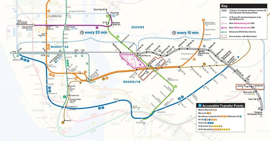 The MTA is offering several alternatives to L train riders impacted by upcoming repair work, including increased M and G train service, new bus routes and free out-of-station transfers. Image via the MTA.
