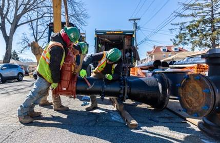 The project will replace more than two miles of pipes within a 21-block swath of Brookville. Image courtesy of NYCDEP.