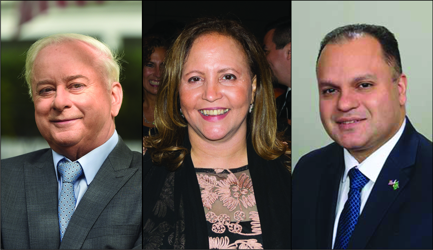 Former Judge Gregory Lasak, former prosecutor Betty Lugo and former prosecutor Jose Nieves will each appear on the June 25 primary ballot. Photos via campaigns