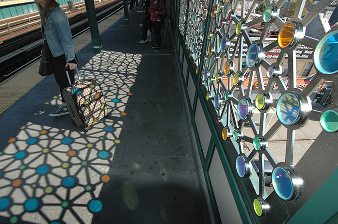"Ray King's ""Connections"" brightens up the Rockaway Boulevard subway station in Ozone Park. Images via the MTA."