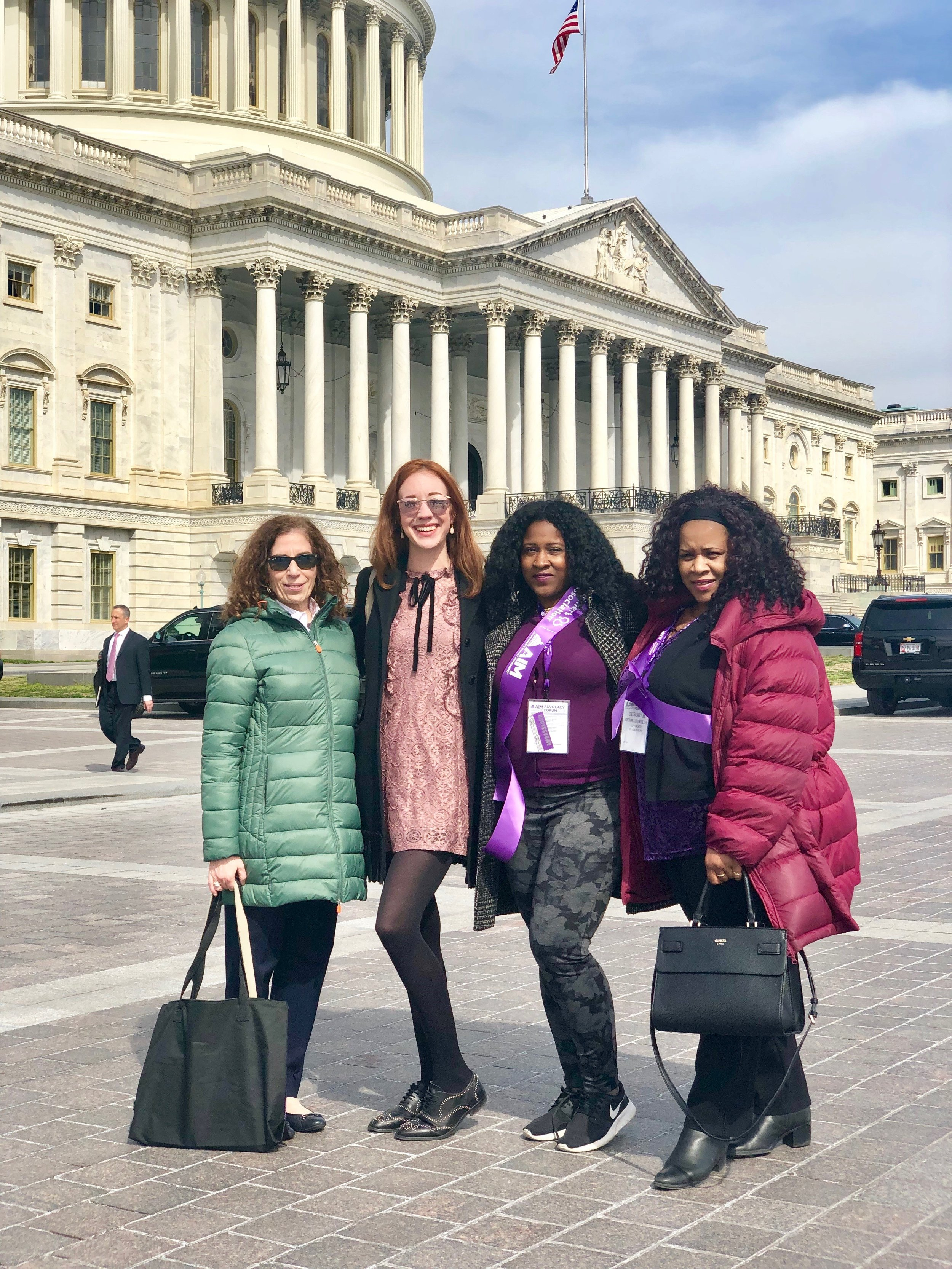 From left to right: Alzheimer's Association, New York City Chapter Advocates Suzanne Campbell, Calleigh Scott, Yulandie Latham and her sister Deborah Latham. Photo courtesy of the Alzheimer's Association.
