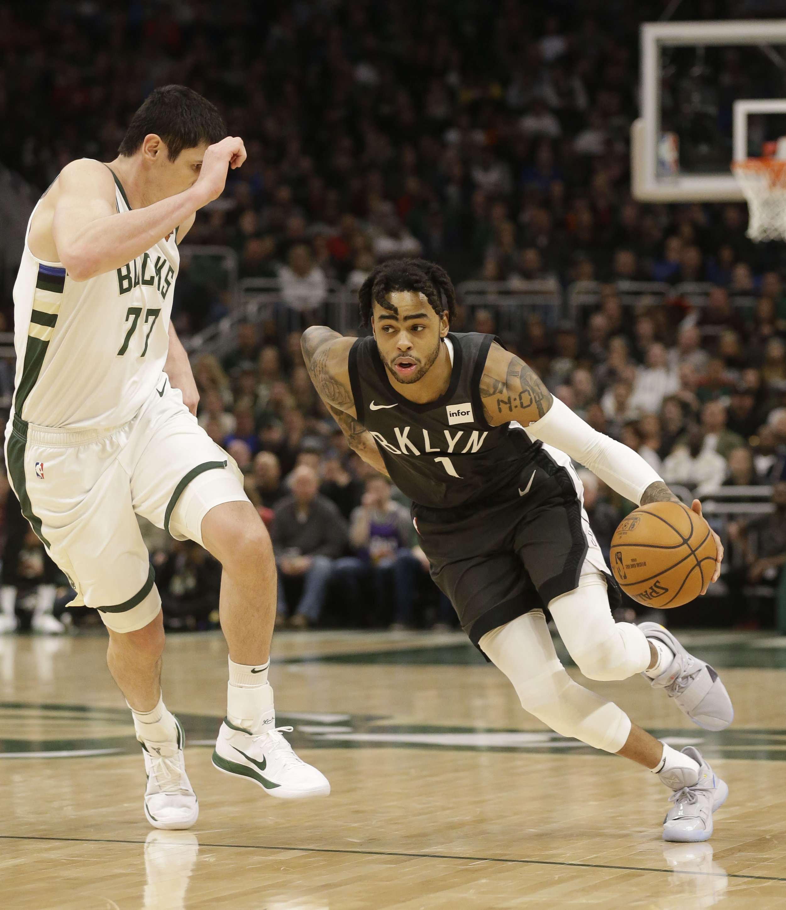 Nets All Star point guard D'Angelo Russell was issued a summons for bringing marijuana to LaGuardia Airport. AP Photo/Jeffrey Phelps.