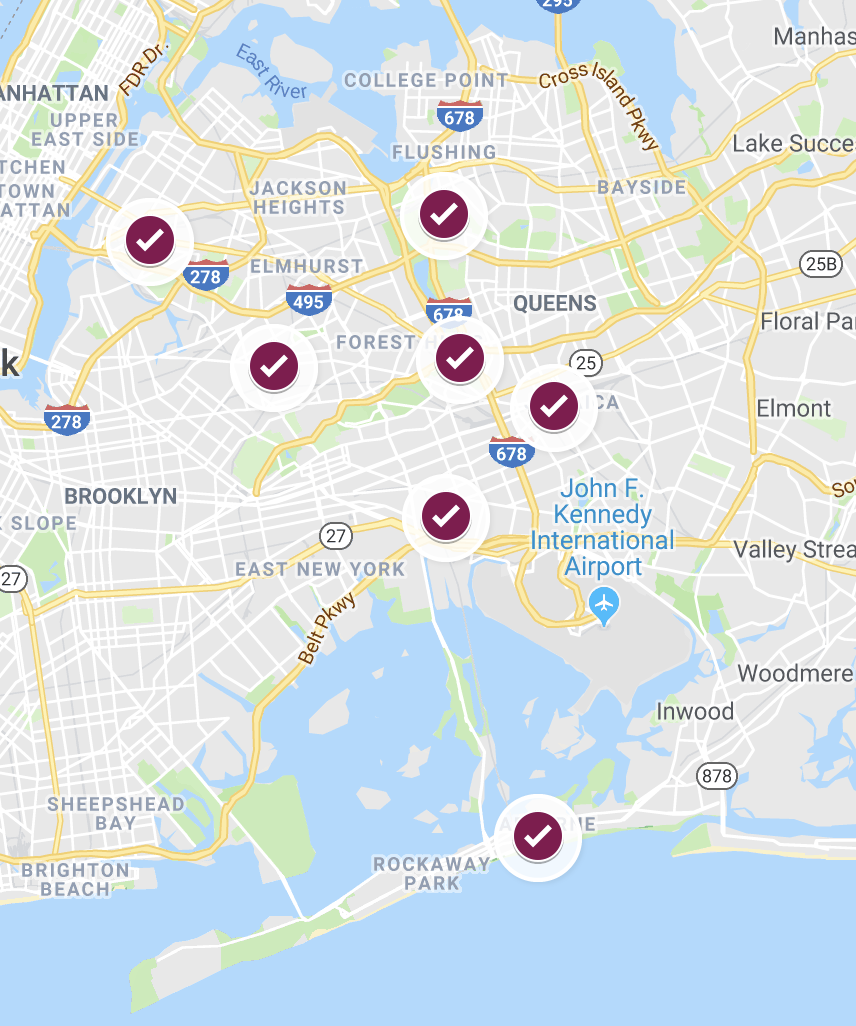 A map of the early voting sites in Queens.  Eagle  map by David Brand.