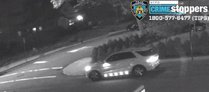A surveillance image of the suspects' getaway vehicle Photo courtesy of the NYPD.