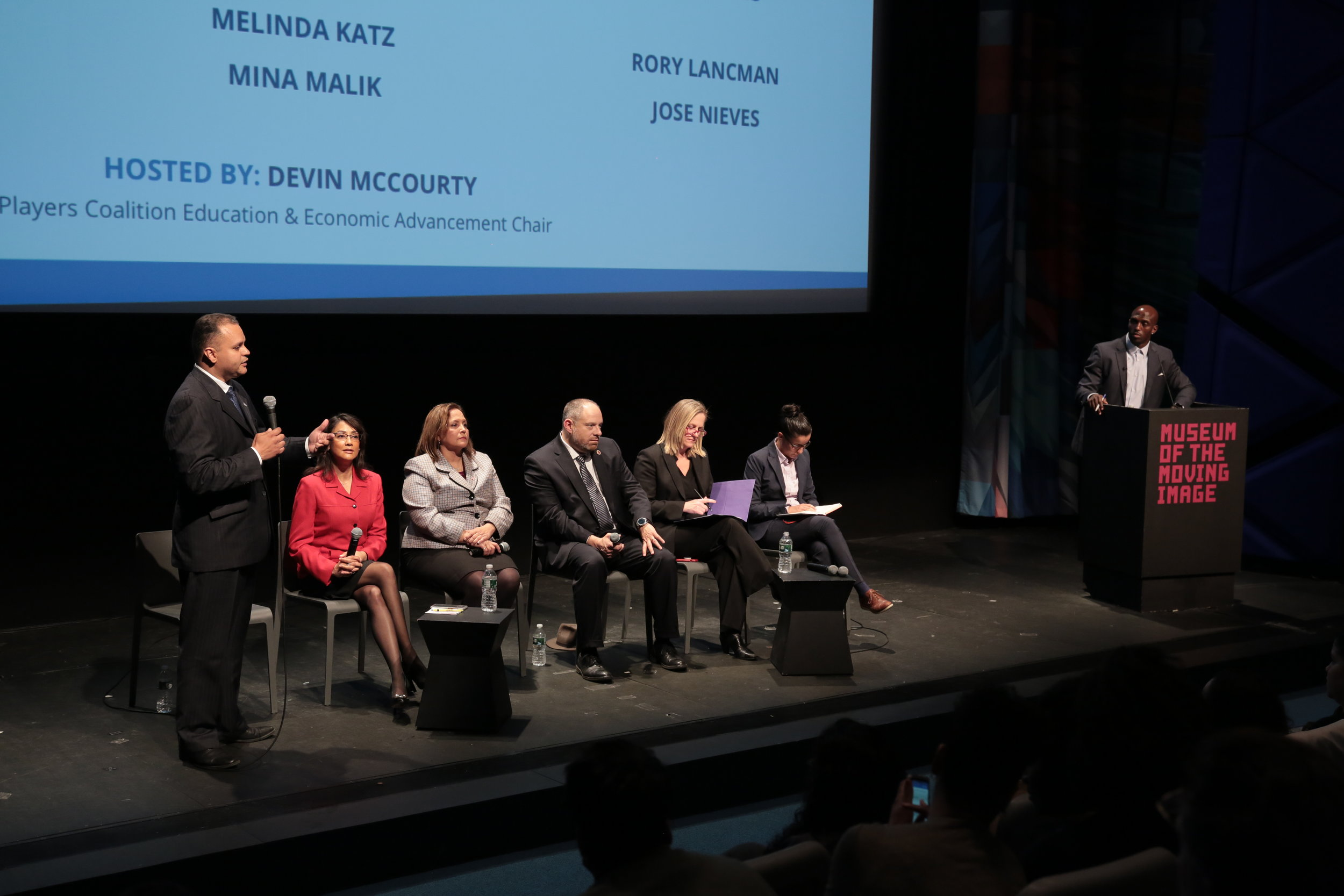 McCourty (right) moderated the forum on May 1, which featured six of the seven candidates for Queens DA: public defender Tiffany Cabán, Queens Borough President Melinda Katz, Councilmember Rory Lancman, attorney Betty Lugo, former Queens prosecutor Mina Malik and former Attorney General's office prosecutor Jose Nieves.