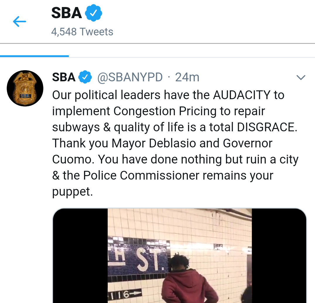 A portion of a pornographic tweet by the Sergeants Benevolent Association. The Eagle has cropped the image to remove the portion of the video that shows a sex act. Photo via Twitter