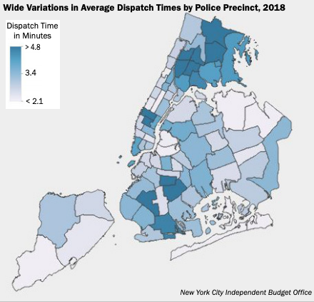 A chart of Queens NYPD precincts and their 911 call dispatch times. Image courtesy of IBO