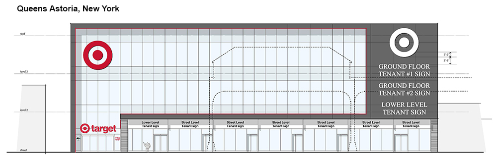 A rendering of the outer facade of the planned Astoria Target. Image via Target.