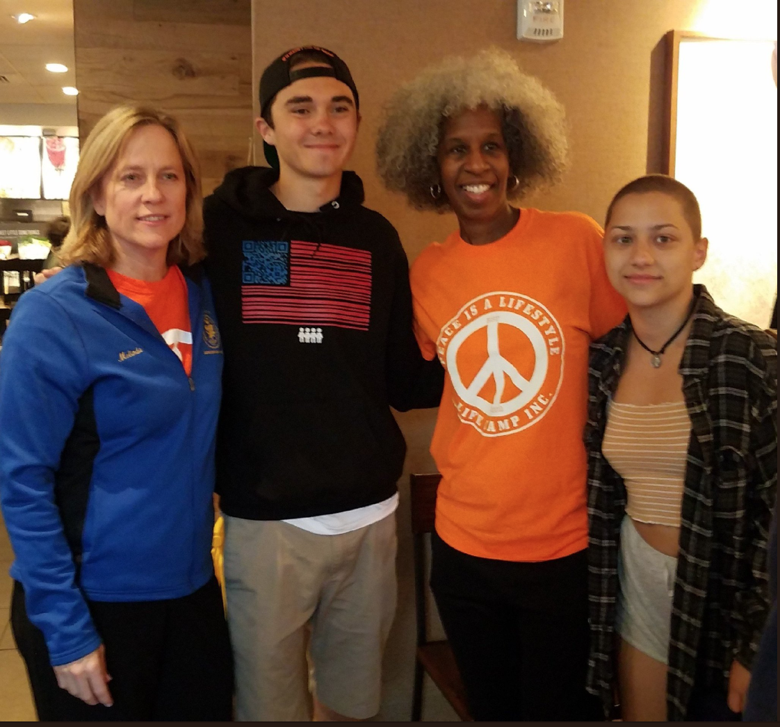 Queens Borough President Melinda Katz (left) and LIFE Camp Inc. founder Erica Ford (second from right) with Parkland school shooting survivors and gun control advocates David Hogg (second from left) and Emma Gonzalez in Queens last year. Photo via Borough Hall.