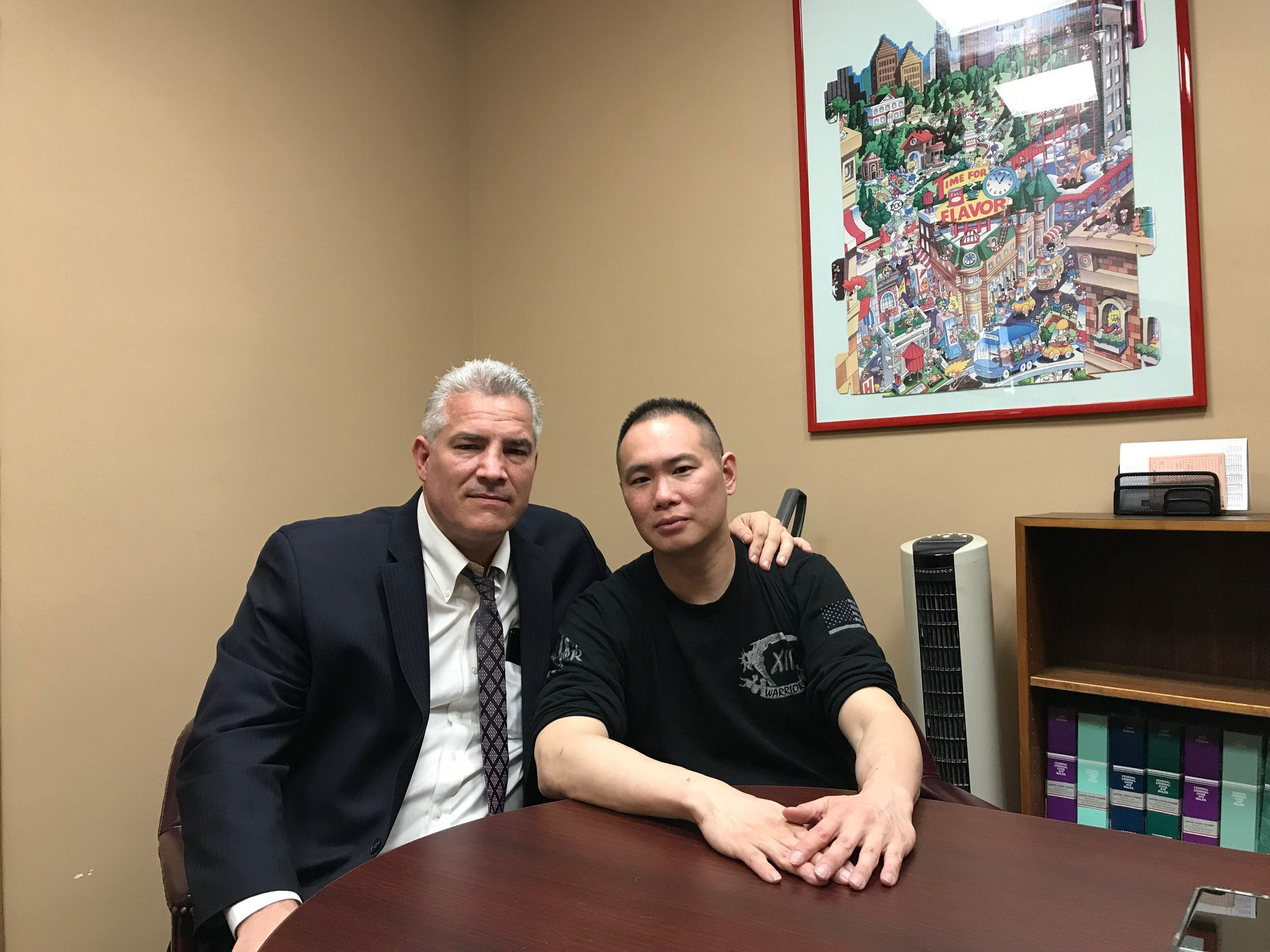 "Sgt. Steven Lee (right) is suing the NYPD and the city for ""a campaign to harass, defame, threaten [and] intimidate him. Attorney Joe Murray, a retired NYPD officer, is representing Lee.  Eagle  photo by David Brand."