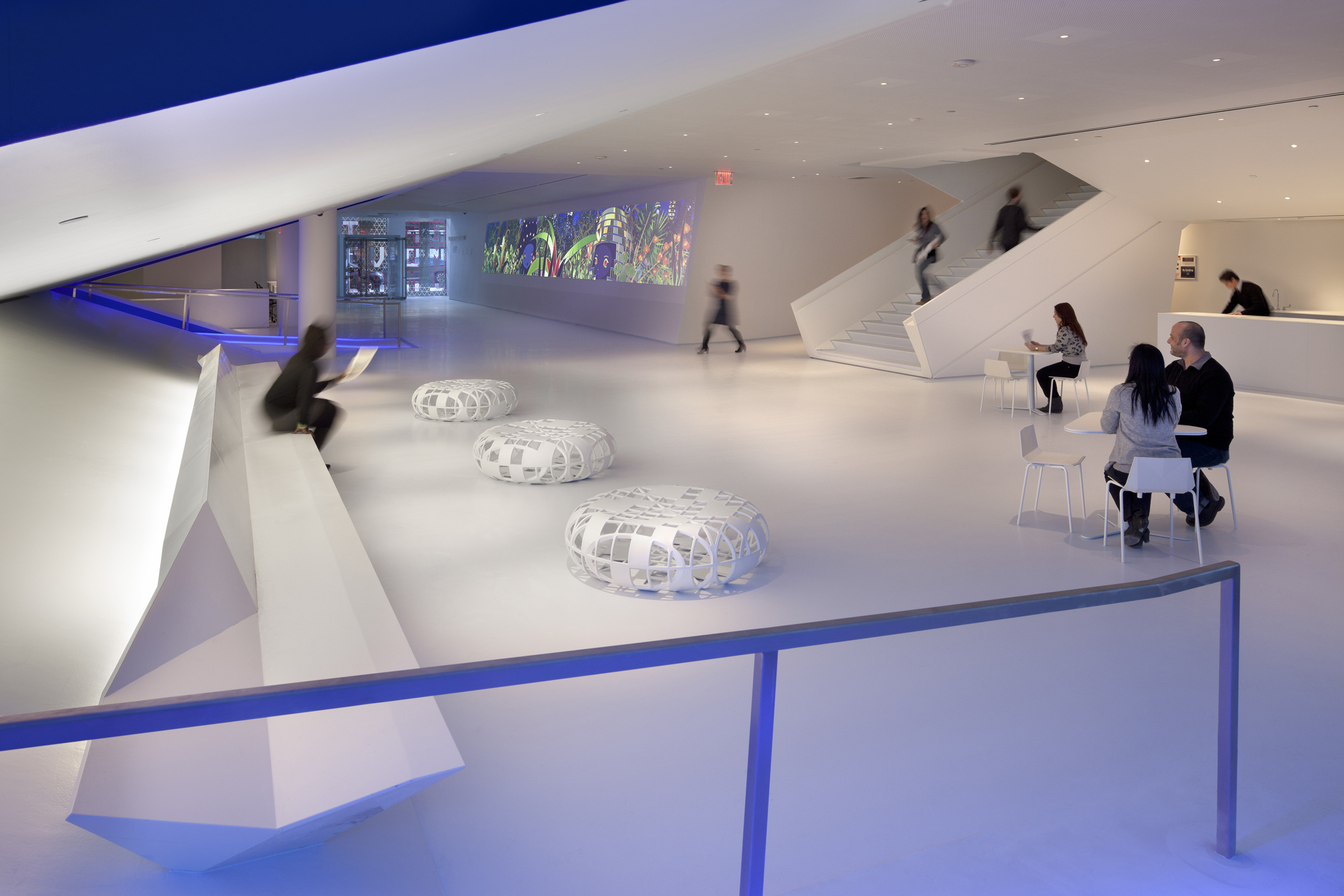 MOMI's lobby is available for receptions. Photo by Peter Aaron/Esto. Courtesy of Museum of the Moving Image.