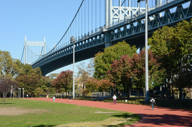 The few dog-friendly areas in Astoria Park are some of the places local dog-owners can exercise their pups. Photo via NYC Parks.