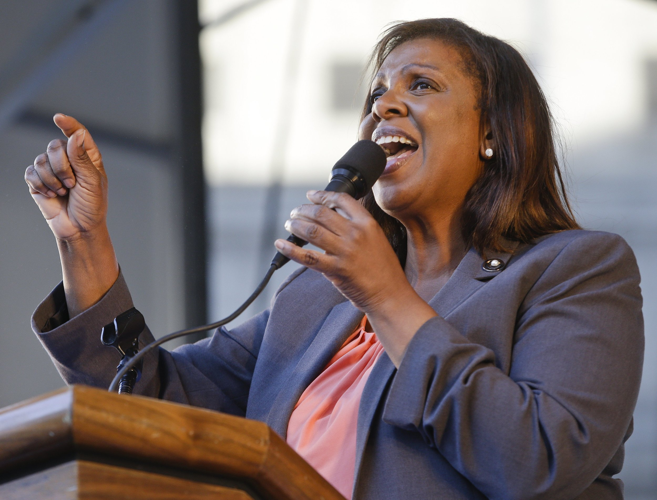 New York Attorney General Letitia James said she supports decriminalizing gravity knives. AP Photo/Frank Franklin II