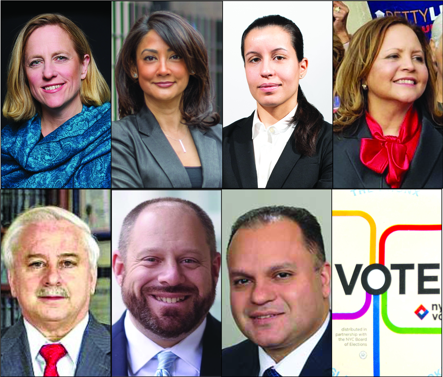 The seven Democratic candidates for Queens DA have raised millions of dollars, according to campaign finance disclosure reports filed last week. Photos via the campaigns