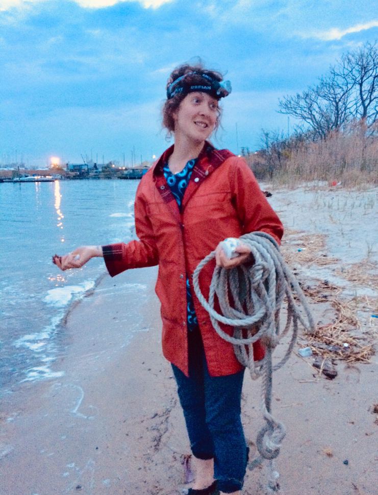 Author Heather Feather participating in a horseshoe crab count at Dead Horse Bay. Photo courtesy of Heather Feather.