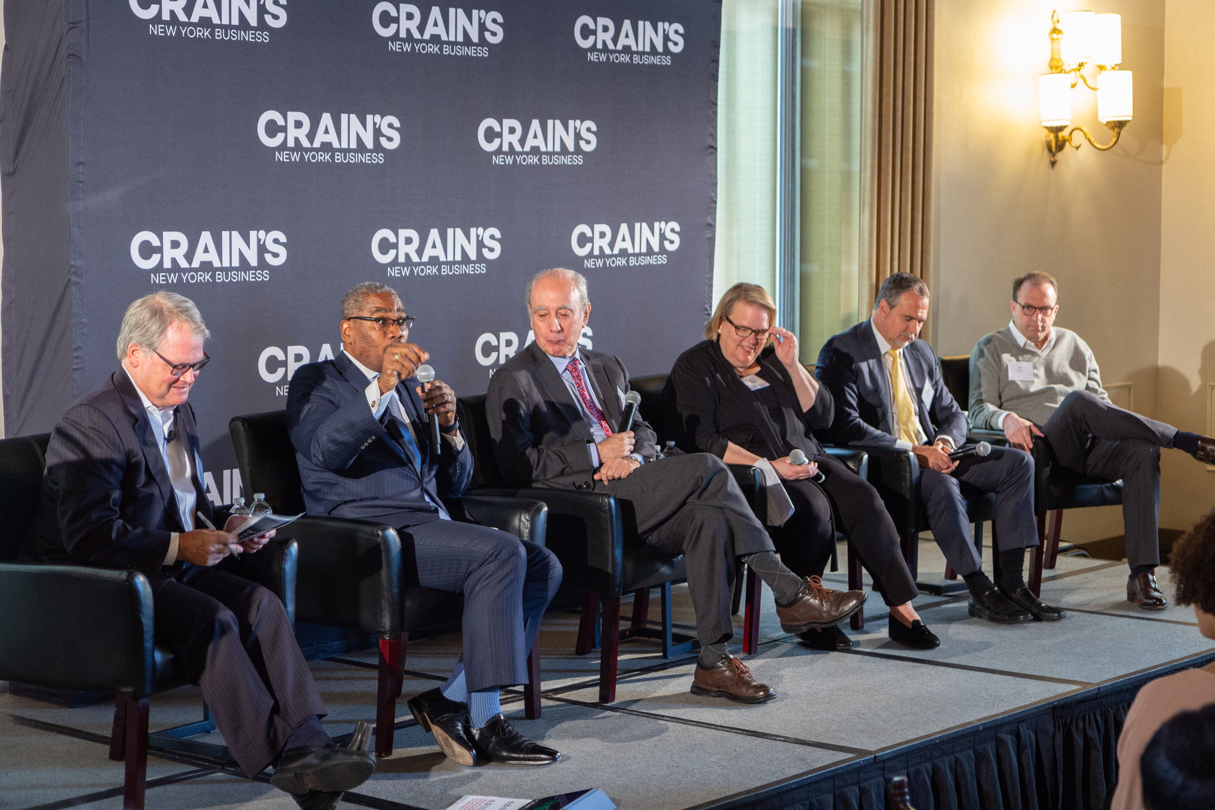 Rep. Gregory Meek speaks at a Crain's panel on local infrastructure on Wednesday. Eagle photo by Jonathan Sperling.