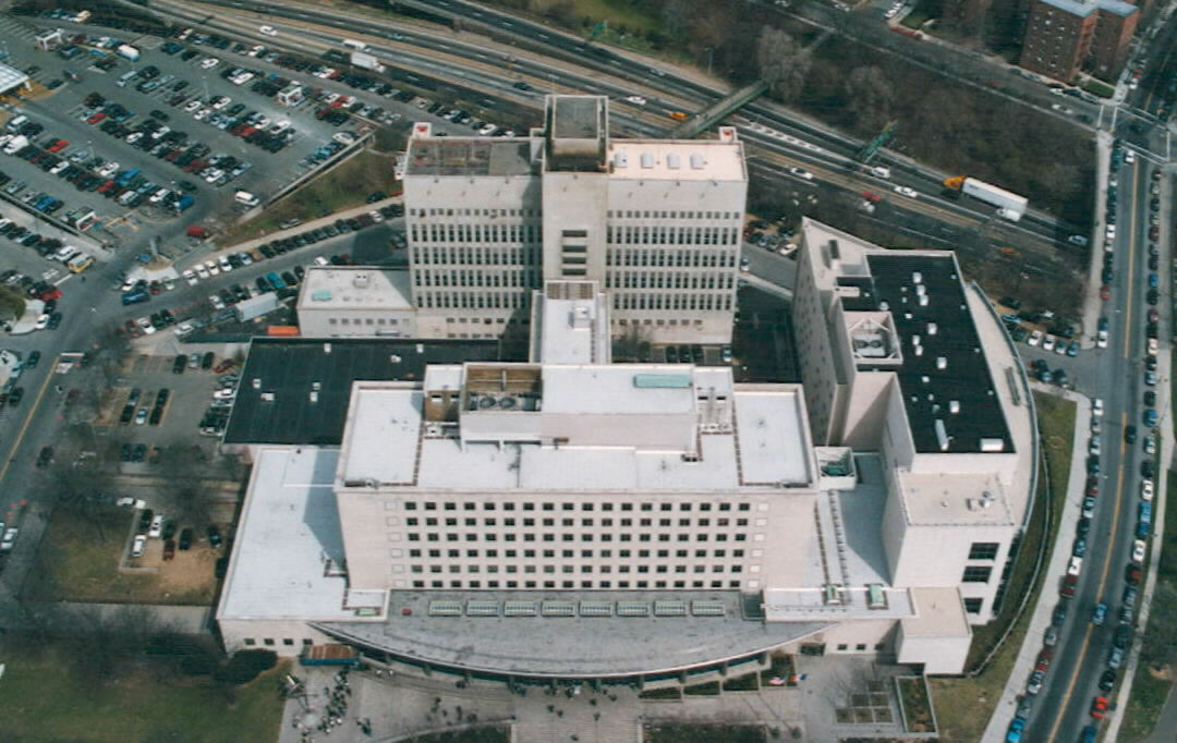 An aerial view of the Queens Criminal Courthouse. Photo and cover photo via the Queens DA's Office