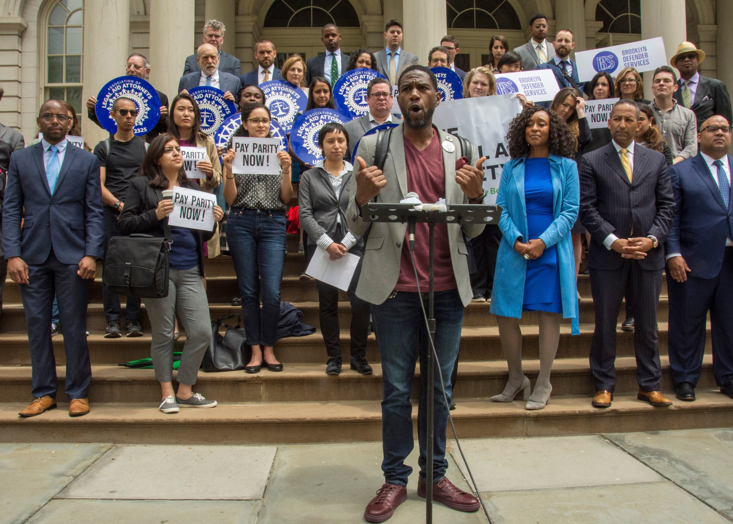 Public Advocate Jumaane Williams demonstrated with New York City public defenders. Photo via The Legal Aid Society.