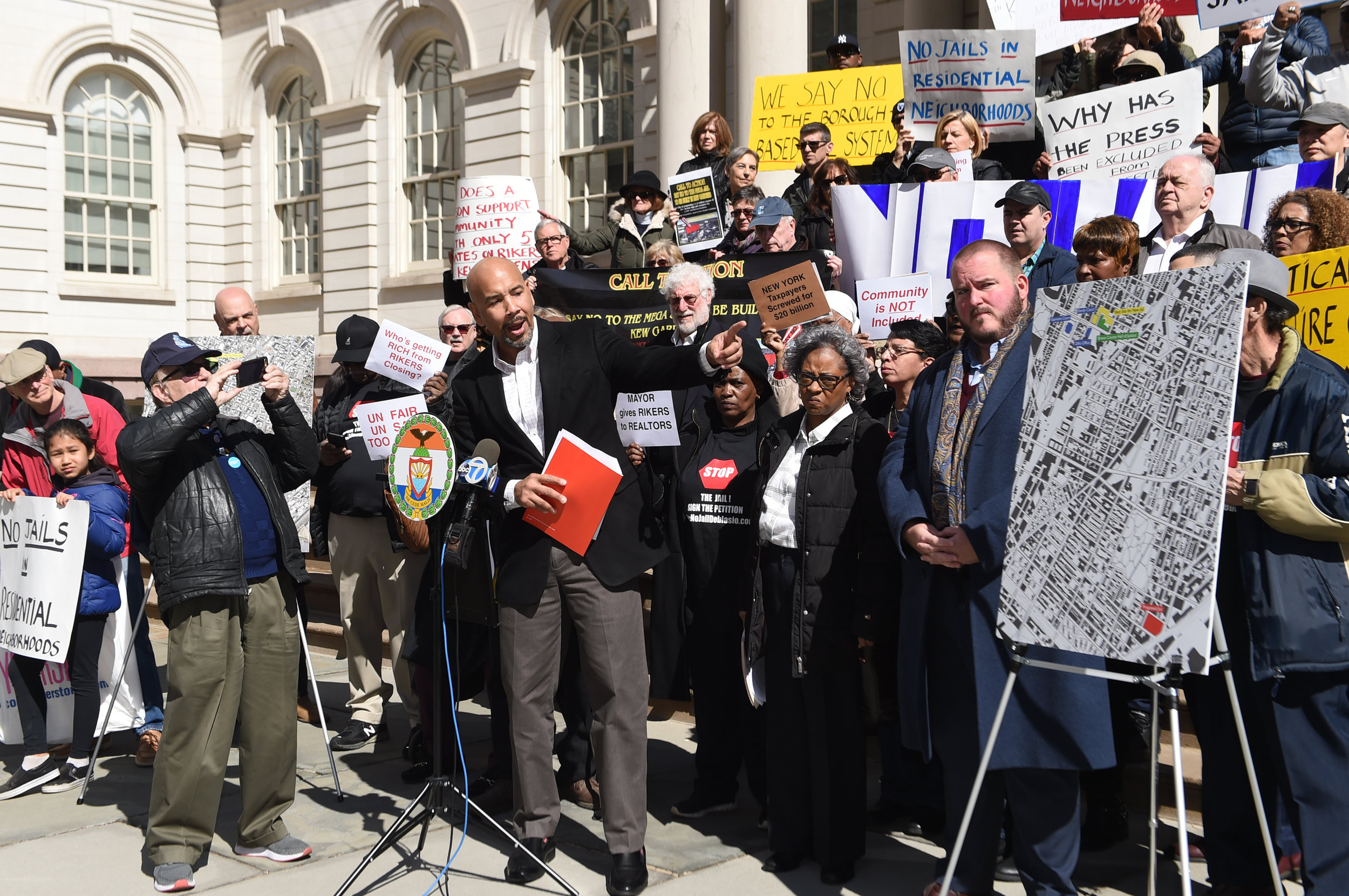 Bronx Borough President Ruben Diaz Jr. demonstrates against the city's jail plan at City Hall in March.  Eagle  file photo by Todd Maisel