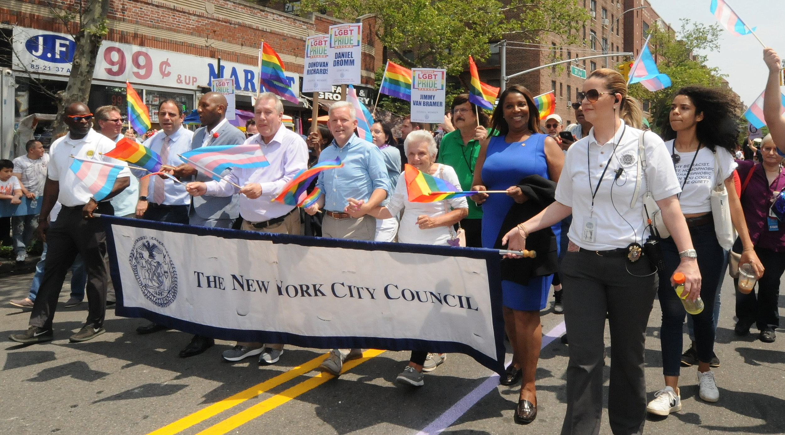 From left to right, Councilmembers Costa Constantinides, Brad Lander, Donovan Richards, Daniel Dromm and Jimmy Van Bramer and New York Attorney General Letitia James.