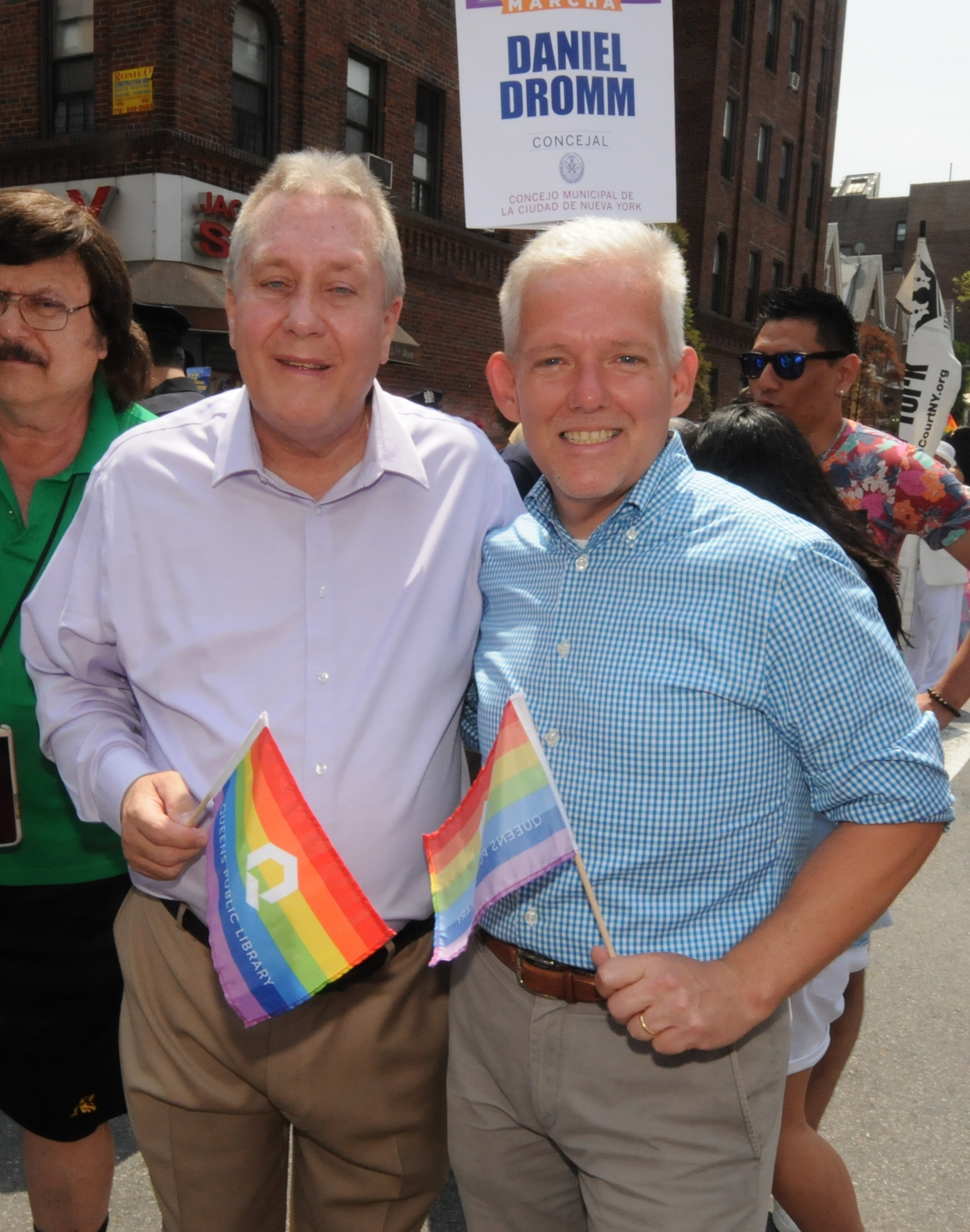 Councilmembers Daniel Dromm and Jimmy Van Bramer, who announced he will run for Queens Borough President.