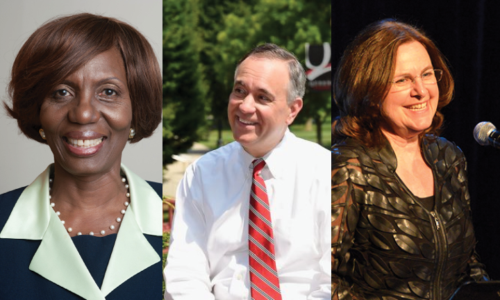 From left to right, York College President Marcia Keizs, CUNY Chancellor Félix Matos Rodríguez and LaGuardia Community College President Gail Mellow. Photos courtesy of CUNY.