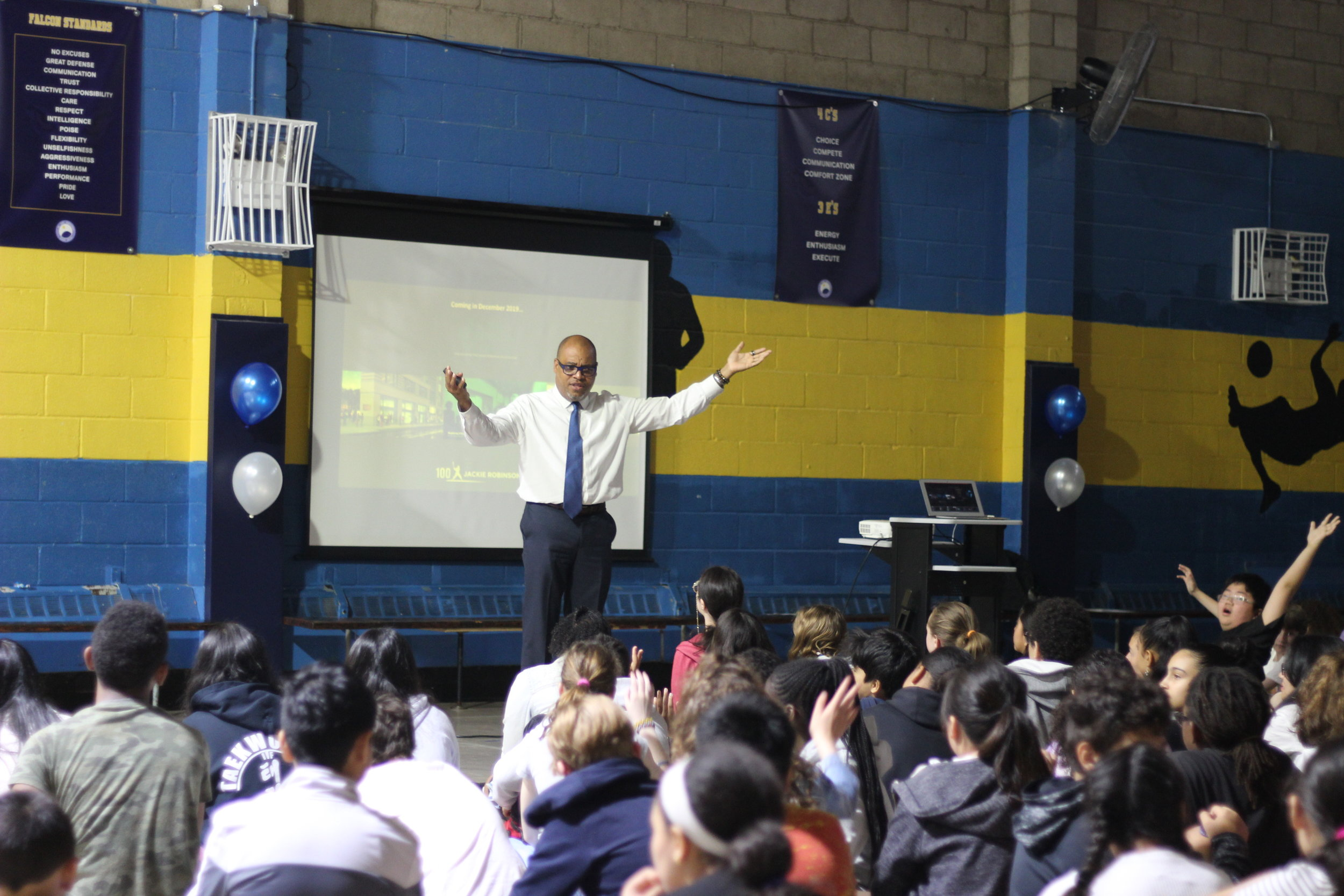 Ivo Philbert, vice president of the Jackie Robinson Foundation, spoke at Our World Neighborhood Charter School.  Eagle  photos by Victoria Merlino.