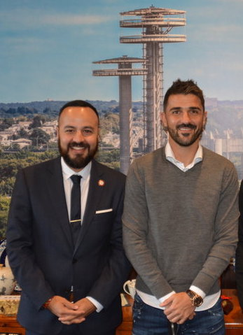 World Cup Champion David Villa (right) and Councilmember Francisco Moya denounced the Trump Administration's decision to end soccer and English classes for unaccompanied minors in federal detention. Photo via Borough Hall