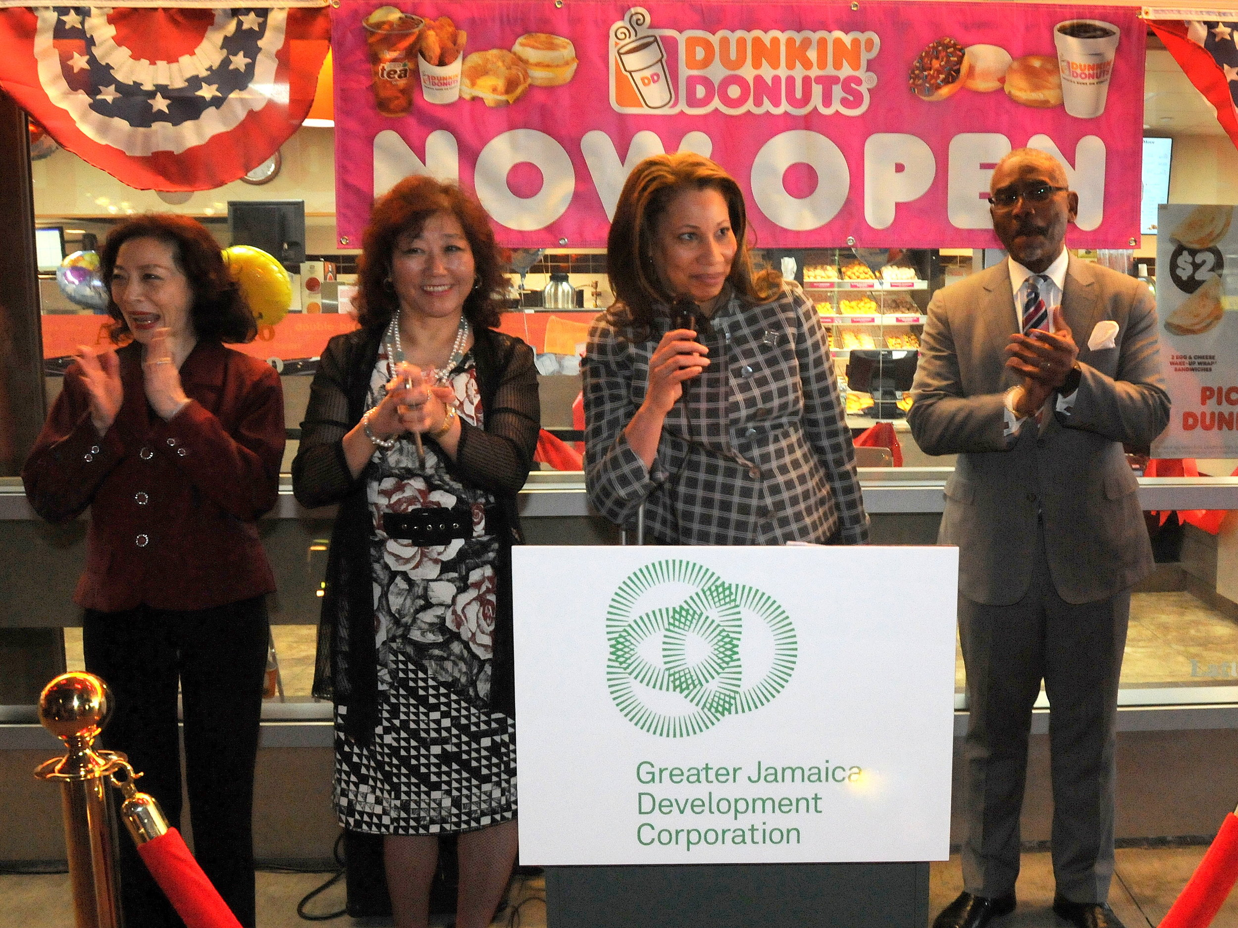 A new Dunkin' Donuts now illuminates a dark, gloomy stretch of Sutphin Boulevard along the underpass across from the Long Island Rail Road's Jamaica Station. Eagle  photos by Walter Karling.