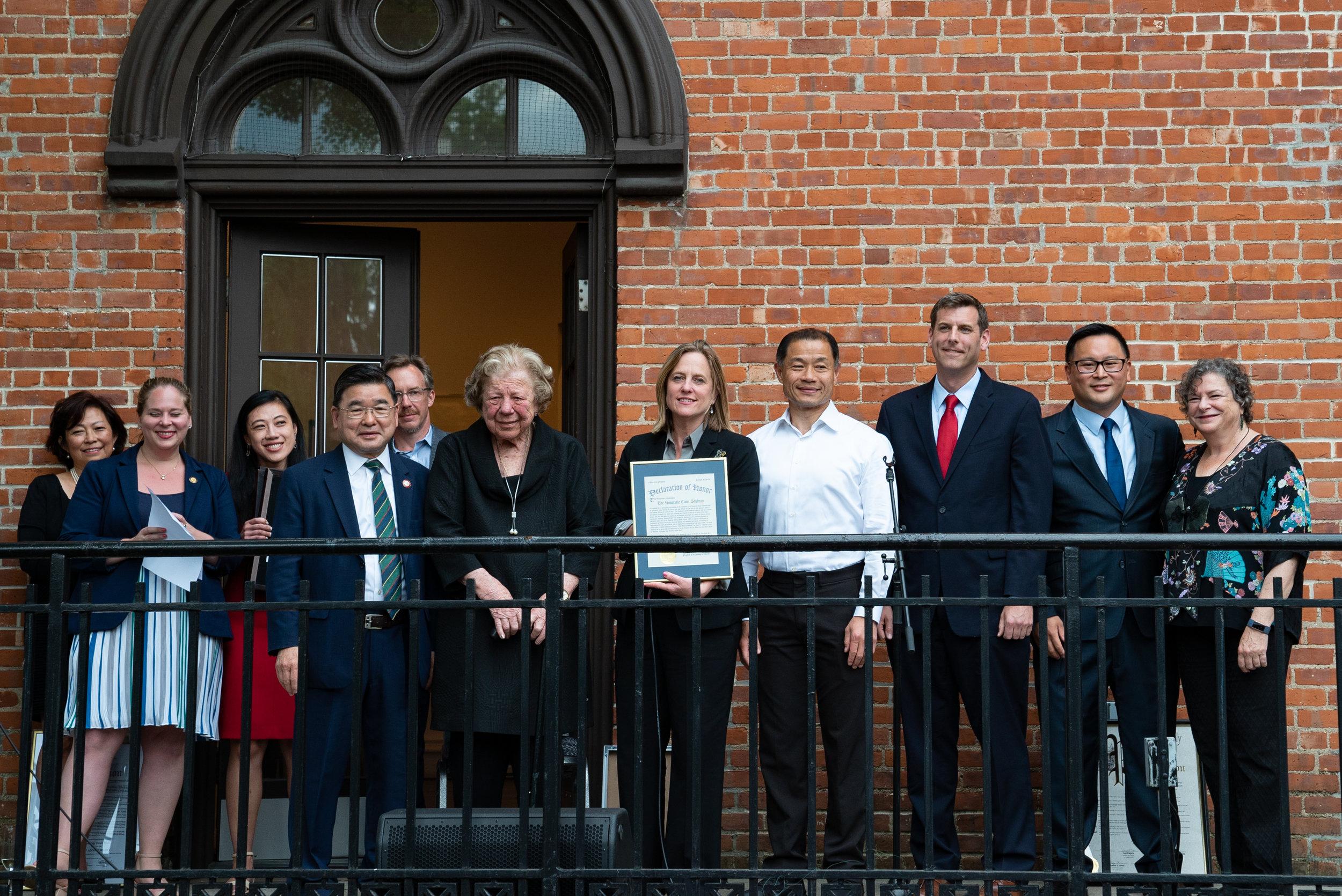 Flushing Town Hall held its 40th annual gala on June 6, 2019. Pictured (left to right) are: Emily Lin; Jordan Beberman; Sandra Ung; Peter Koo; Phil Ballman; Claire Shulman; Melinda Katz; John Liu; Ed Braunstein; Ron Kim; and, Ellen Kodadek.